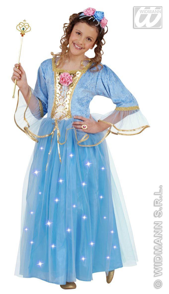 Toverachtige Blauwe Prinses, Fiberoptisch Kostuum Meisje