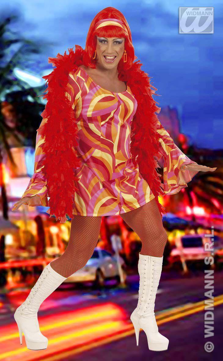 Travestiet Mannelijk 70s Chick XL Kostuum
