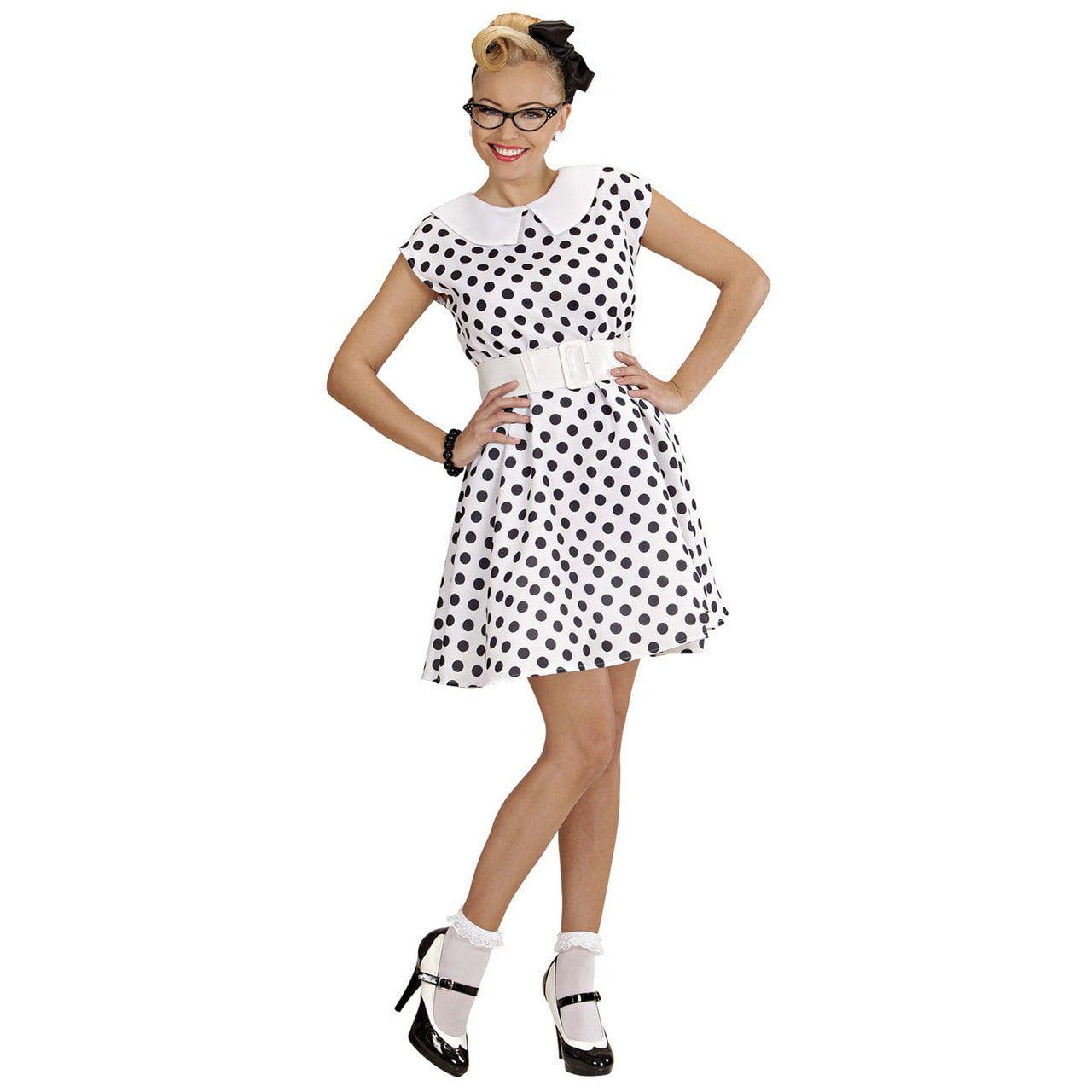 Jurk 50s Wit Ms Diner Kostuum Vrouw