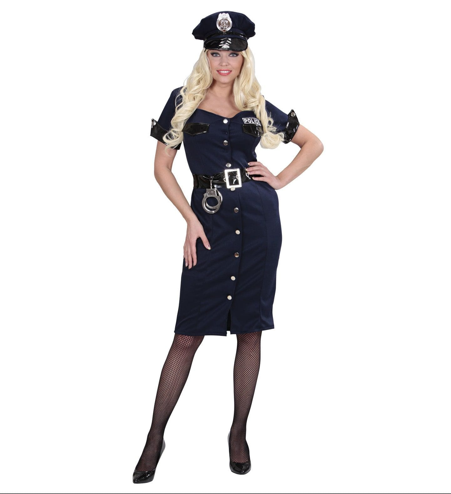 Patente Politie Meisje Lang Vrouw Kostuum