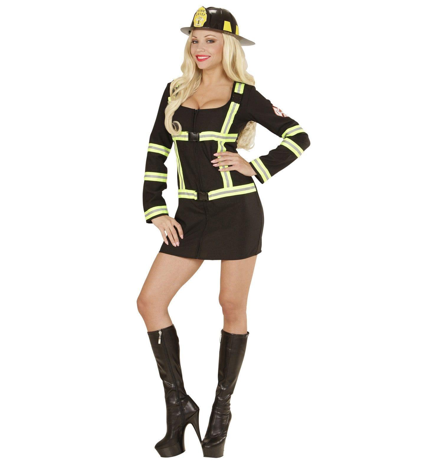 Ms Emergency Brandweervrouw Zwart Kostuum