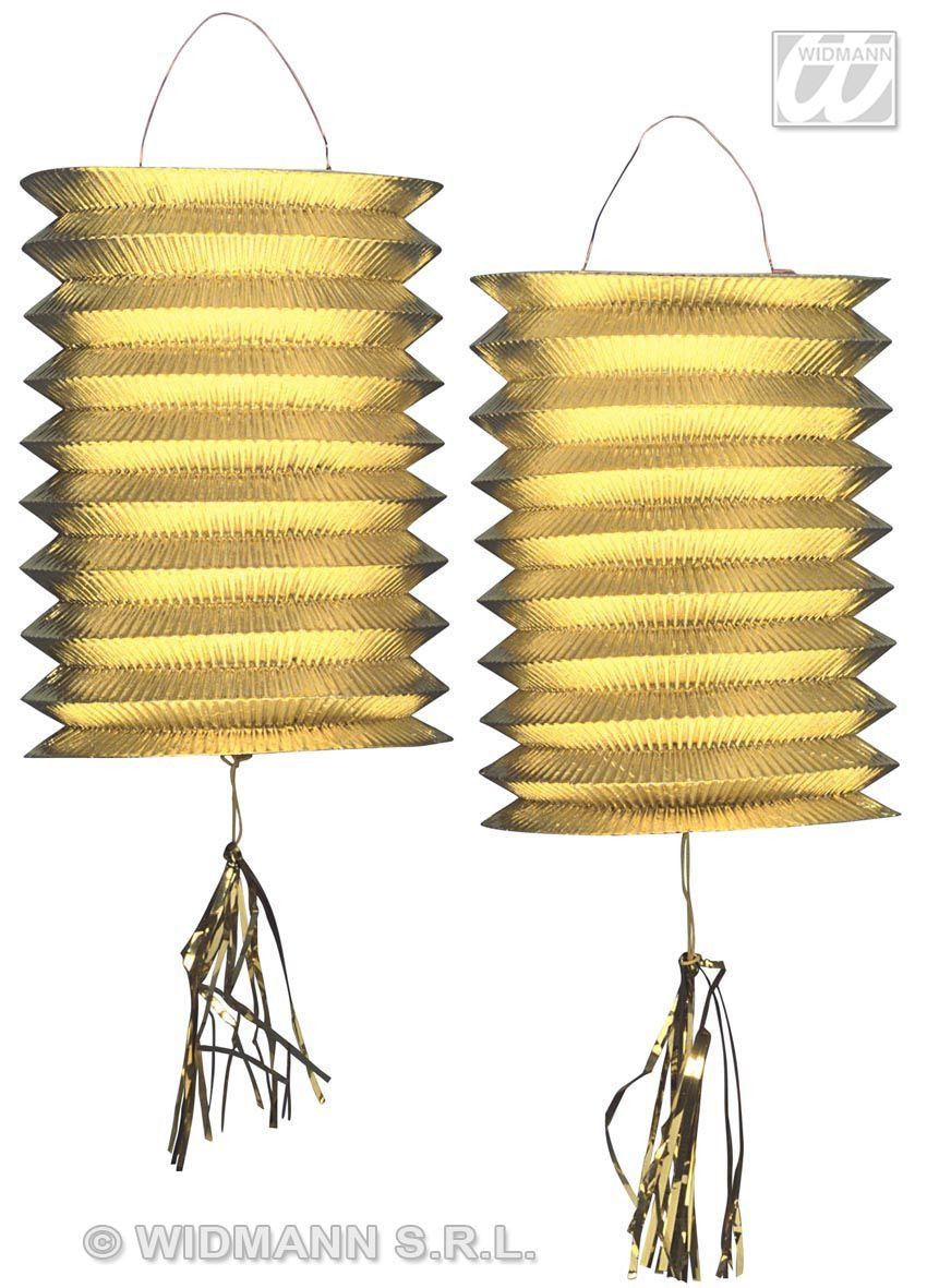 2 Goud Metallic Lantaarn Lampions, 25cm