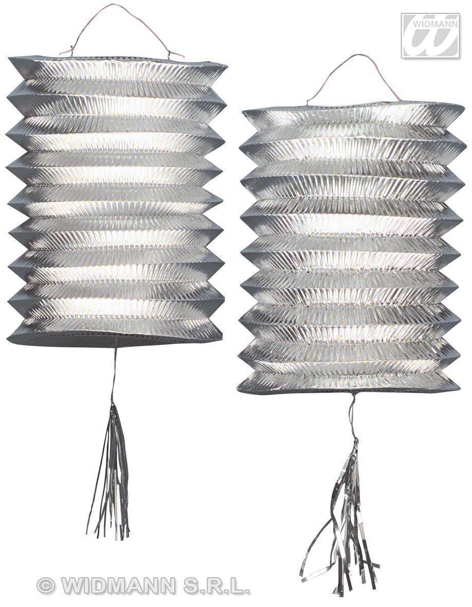 2 Zilver Metallic Lantaarn Lampions, 25cm