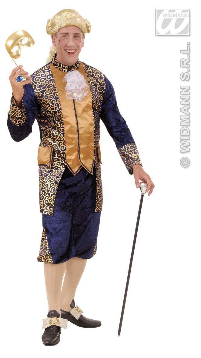 Markies Fluweel Blauw Markies Beethoven Kostuum Man