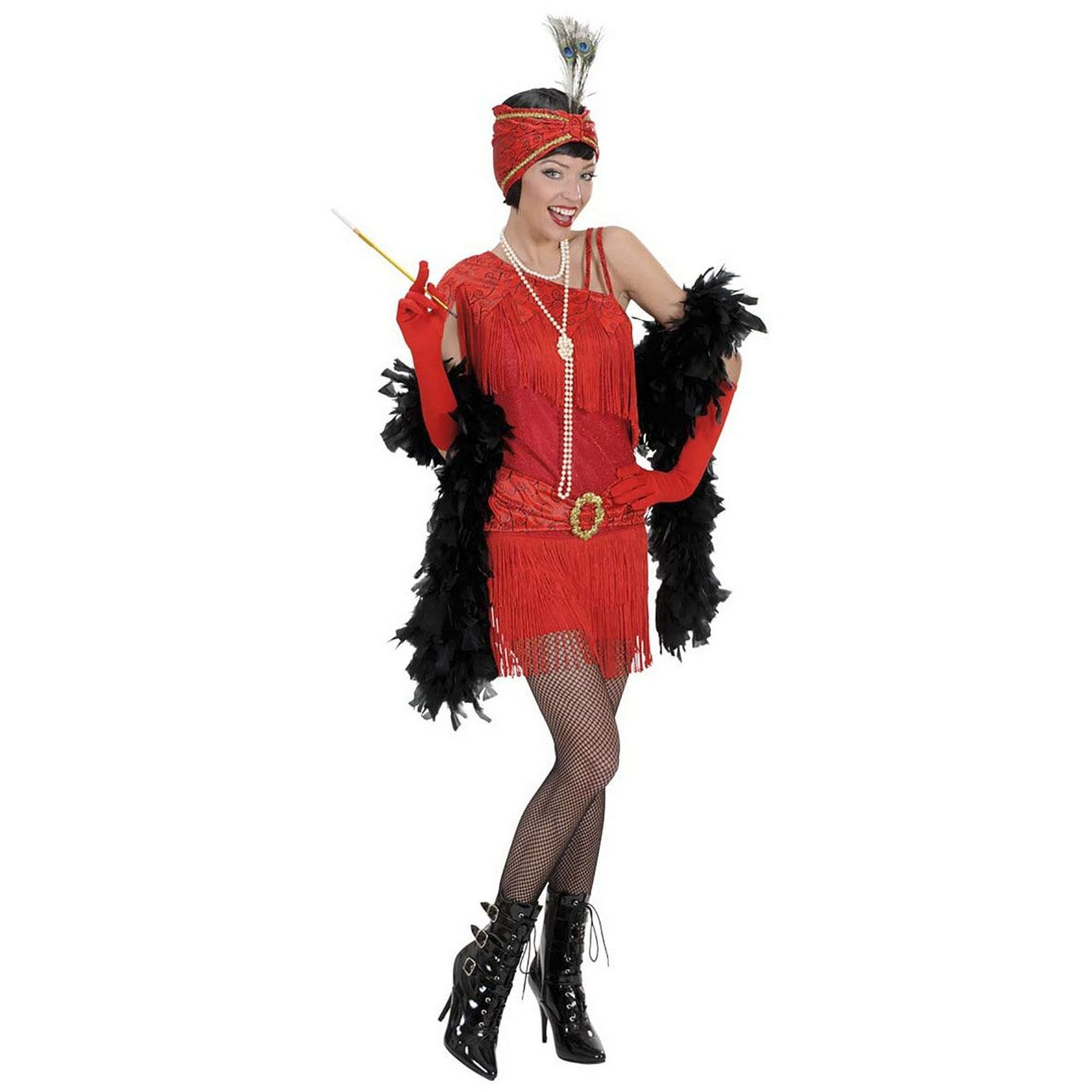 Roaring Flapper Jurk Rood 1920s Kostuum Vrouw