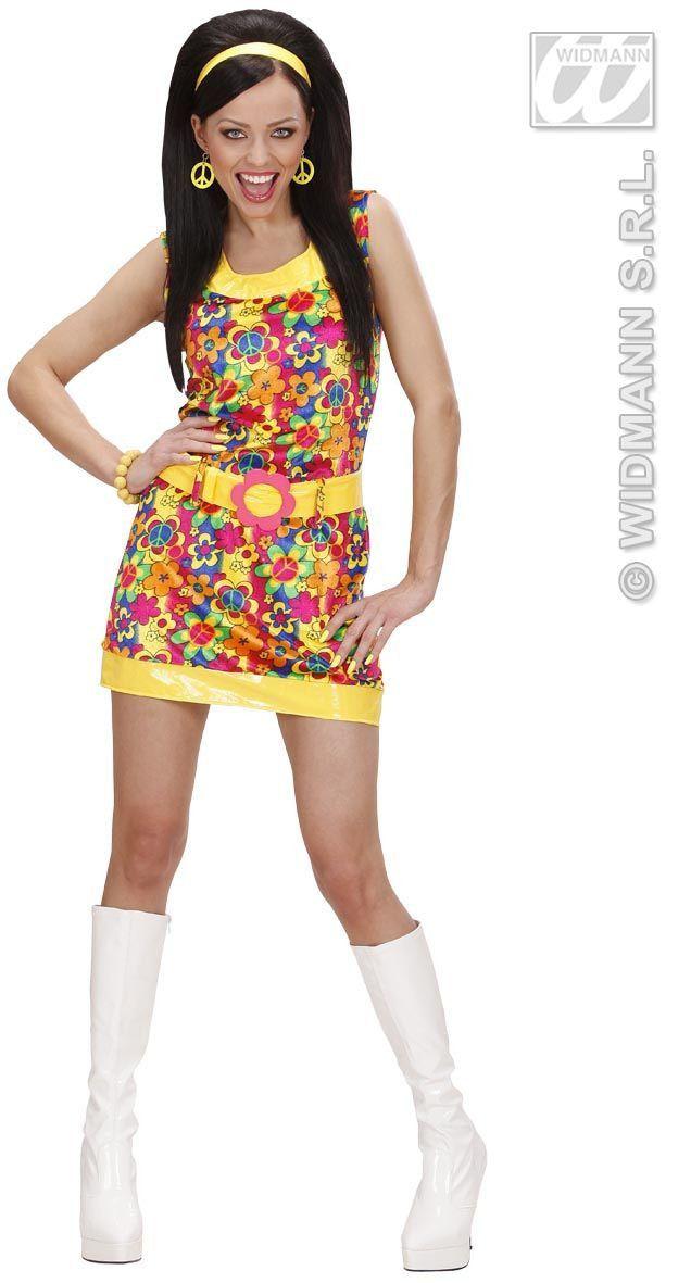 Chique Hippie Dame Love And Peace Fluweel Kostuum Vrouw