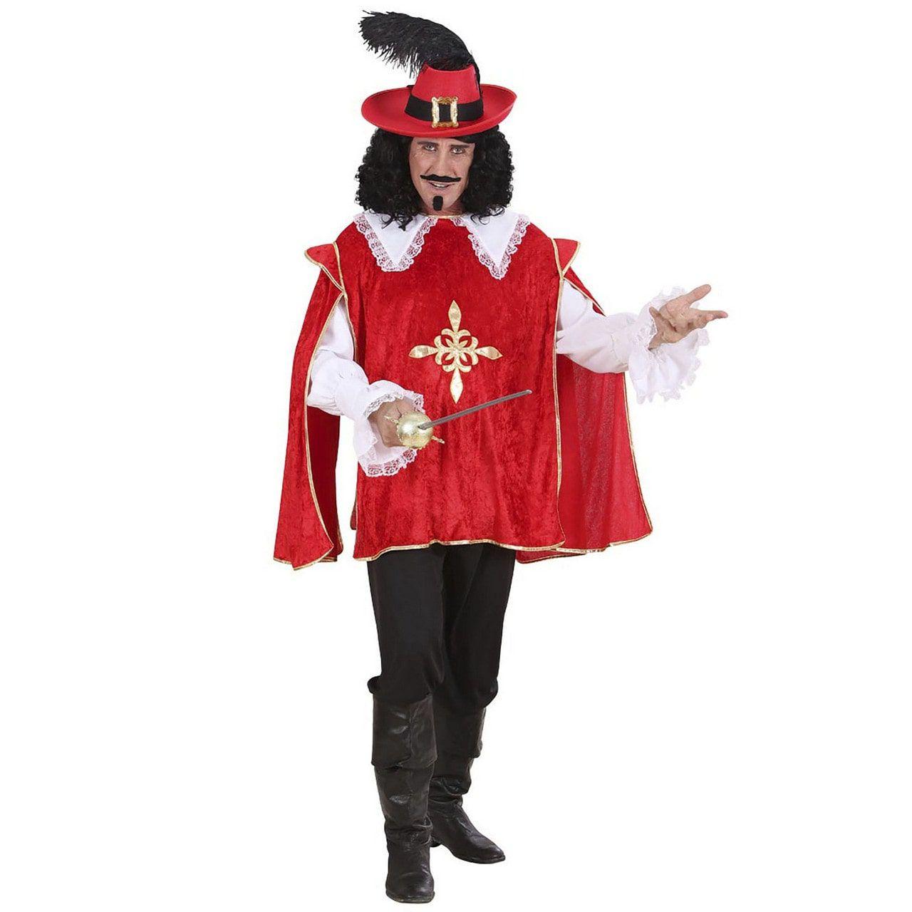 Musketier Dartagnan En Garde Rood Kostuum Man