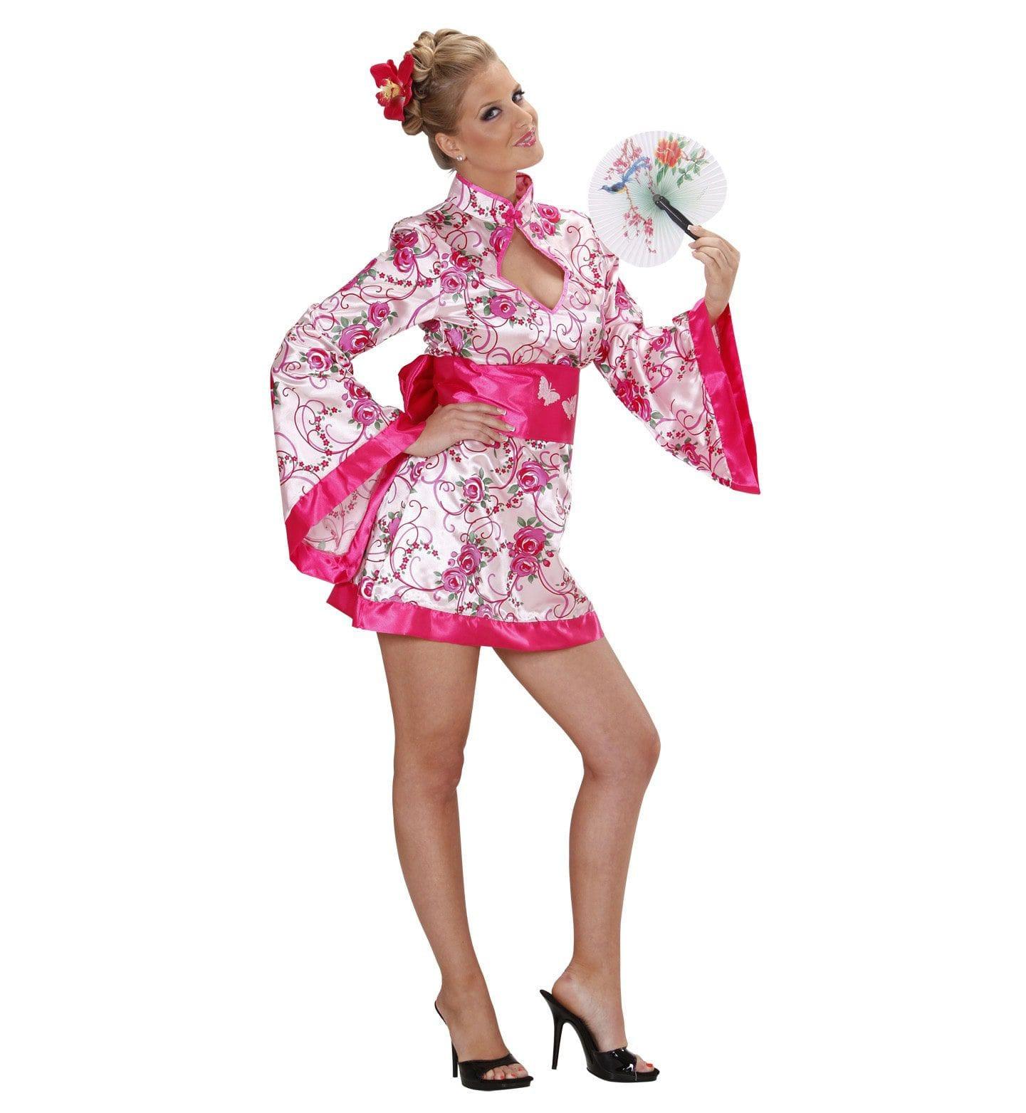 Glanzende Spannende Geisha Kostuum Vrouw