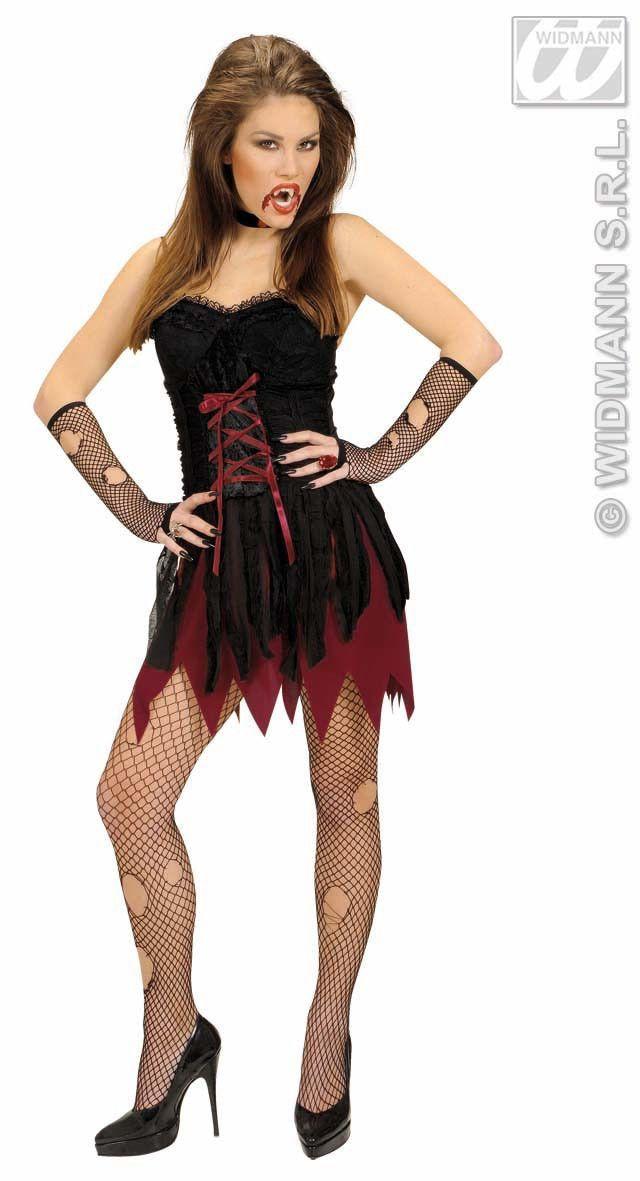 Korte Victoriaanse Vrouwelijke Vampier Kostuum