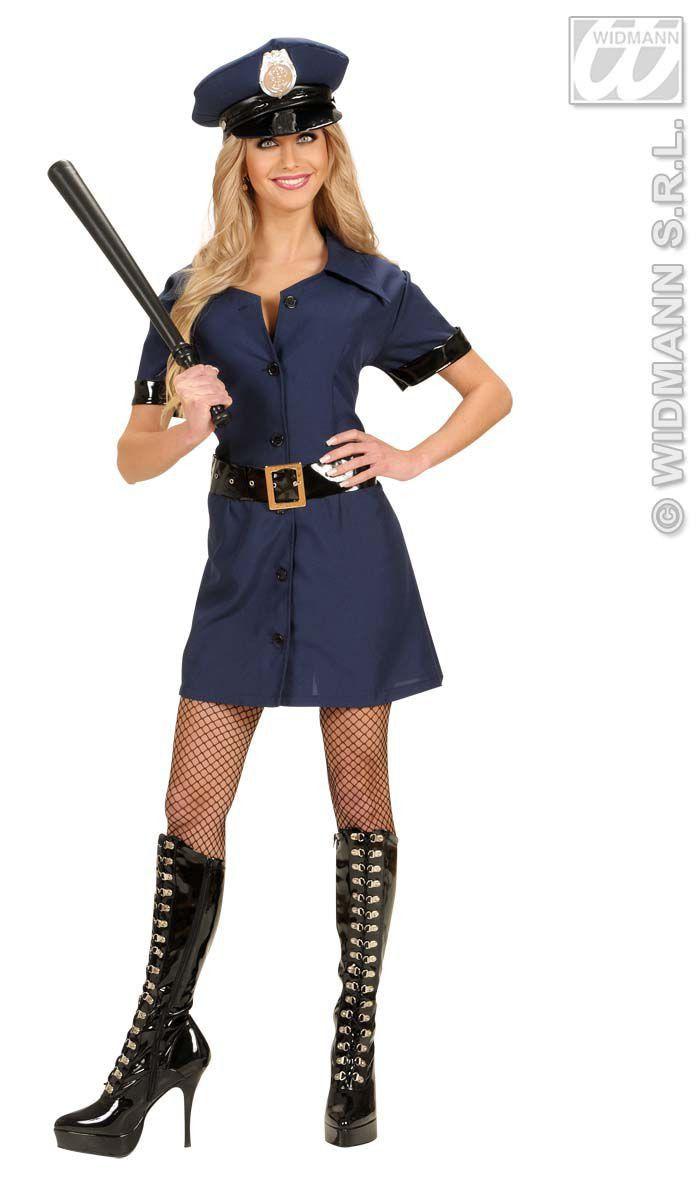 Spannend Politie Meisje Donkerblauw Kostuum Vrouw