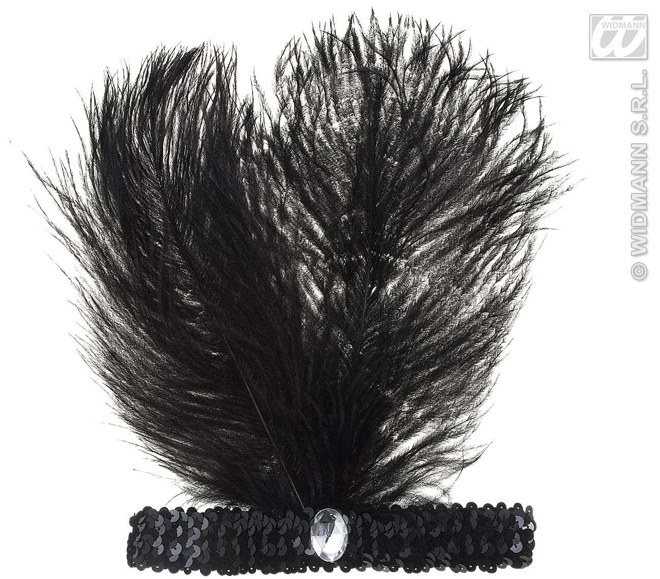 Hoofdband Zwart Met Marabou En Edelsteen