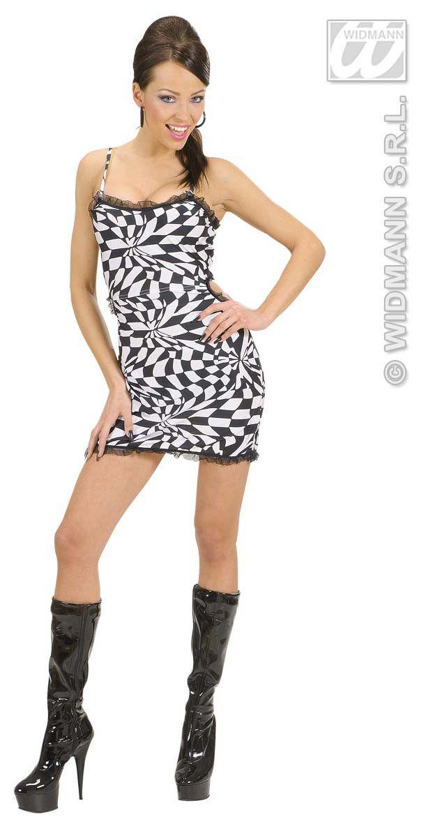 Sexy Geblokt Jurkje Zwart / Wit Rock Cuty Kostuum Vrouw