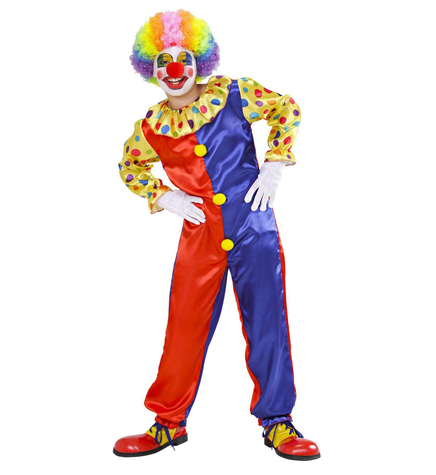 Rood-Blauwe Clown Jumpsuit Kind Kostuum