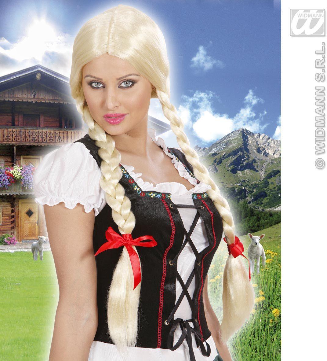 Pruik, Lange Vlechten Blond