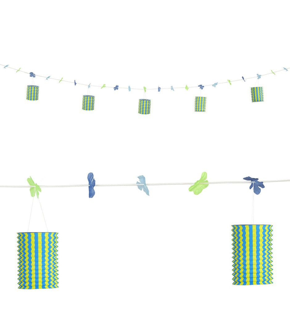 Feestelijke Slinger Met Lampions En Bloemen Blauw / Geel, 3 Meter