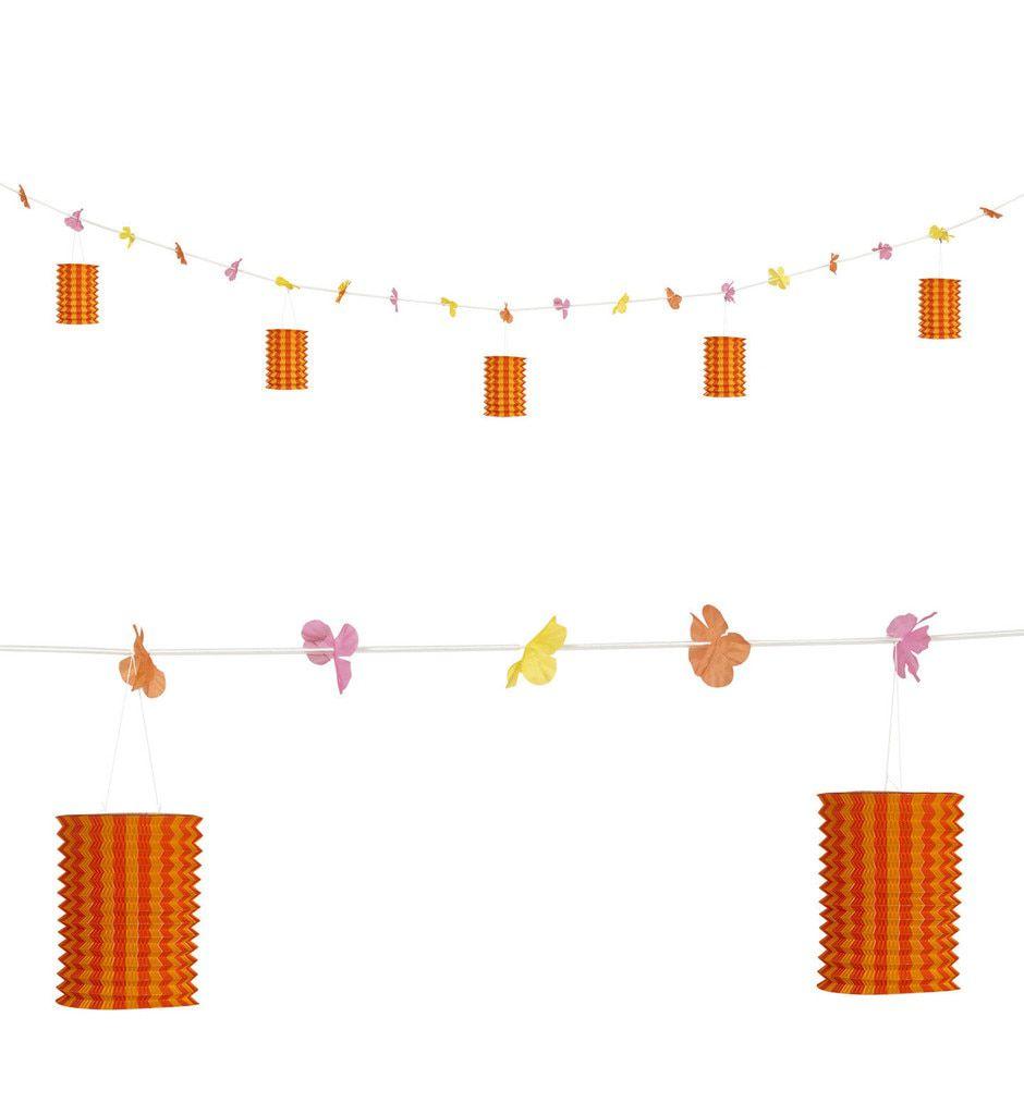 Feestelijke Slinger Met Lampions En Bloemen Oranje / Geel, 3mtr