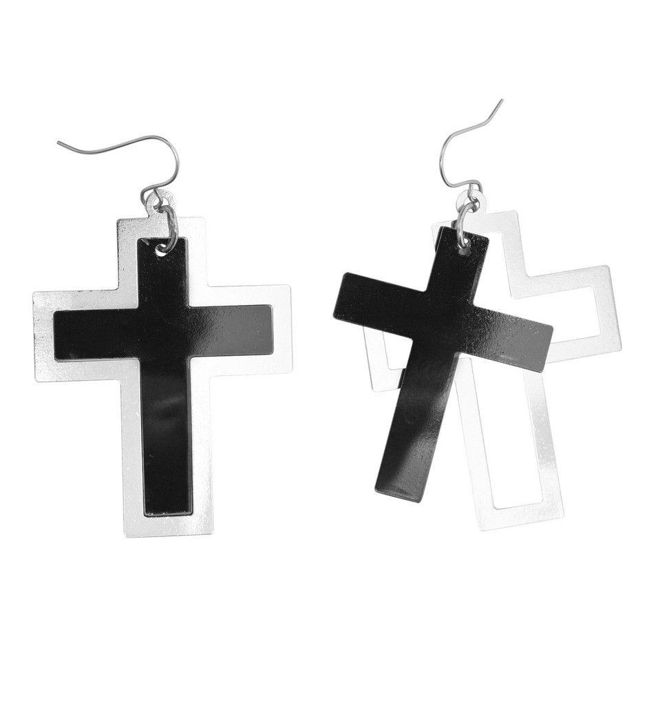 Punk Oorbellen Kruis, Zwart / Zilver