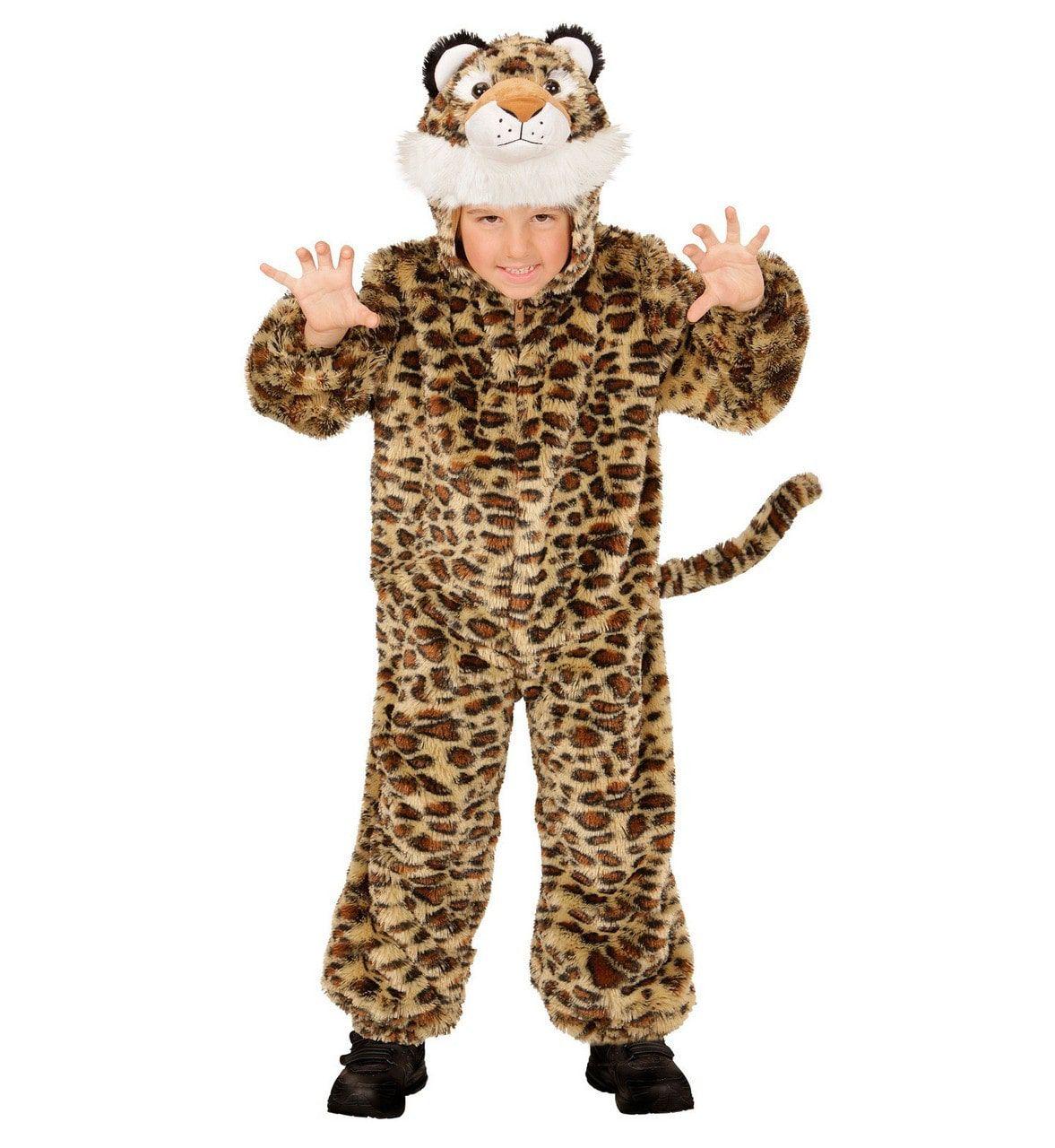 Jumpsuit Met Kap En Masker 98cm, Savanne Luipaard Kostuum