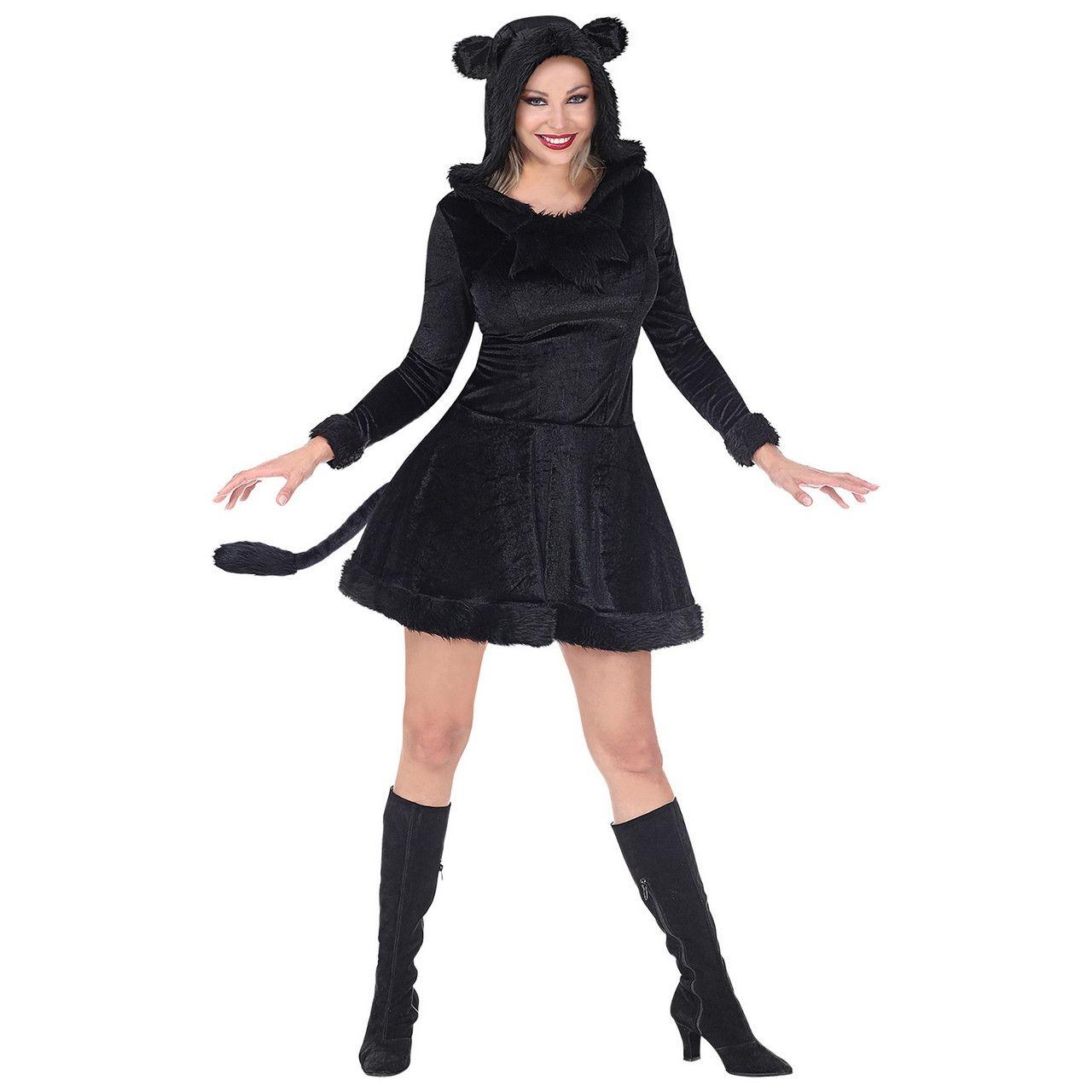 Prachtige Zwarte Panter Vrouw Kostuum