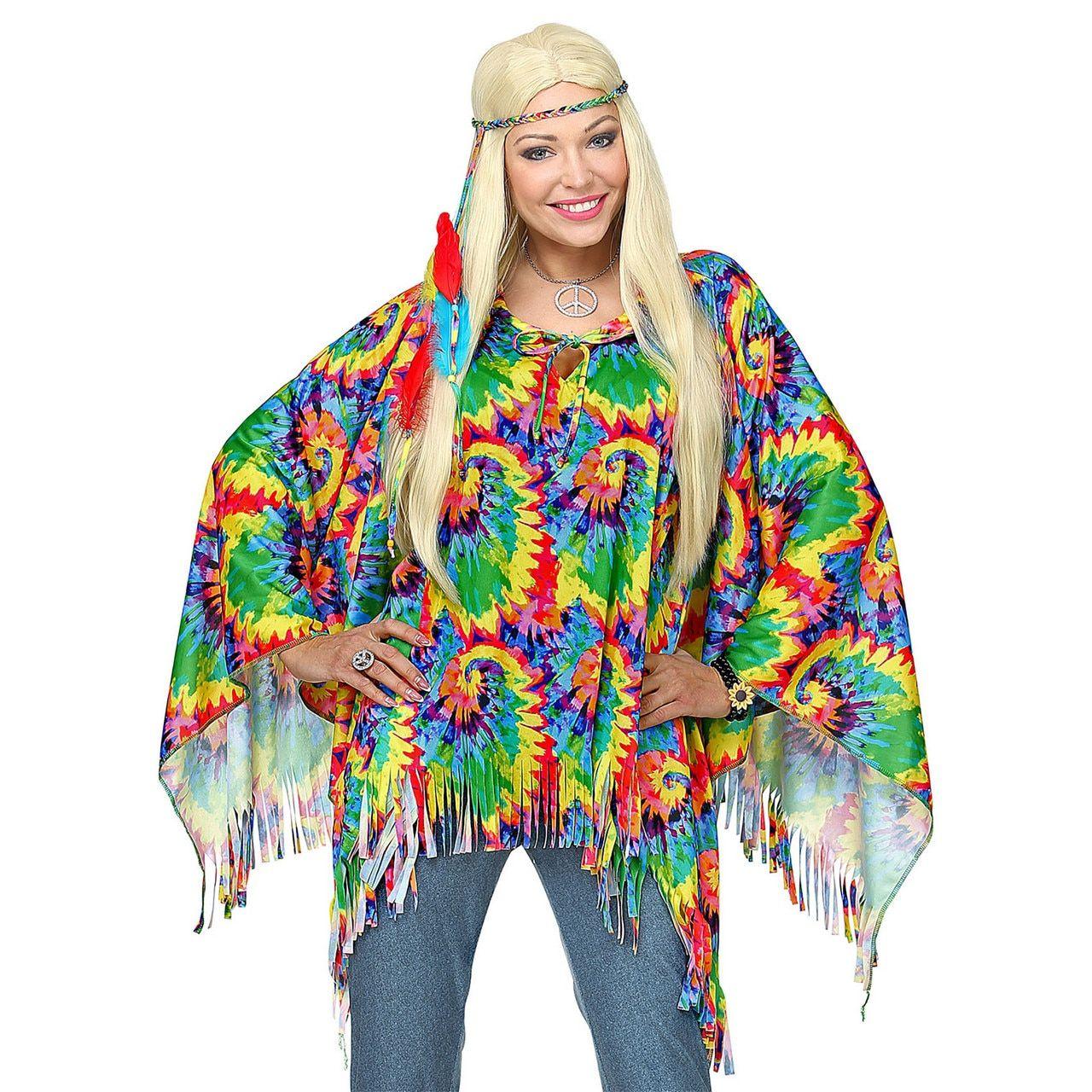 Hippie Poncho Wild Patroon Met Hoofdband Vrouw Kostuum