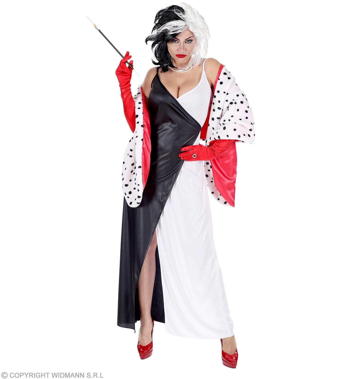 Cruella Met Dalmatier Cape Vrouw Kostuum