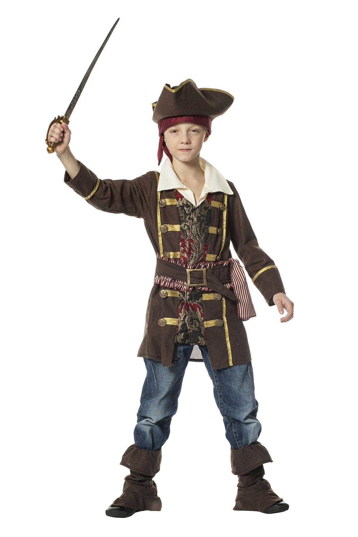 Woeste Zeeschuimer Piraat Bruin Jongen Kostuum