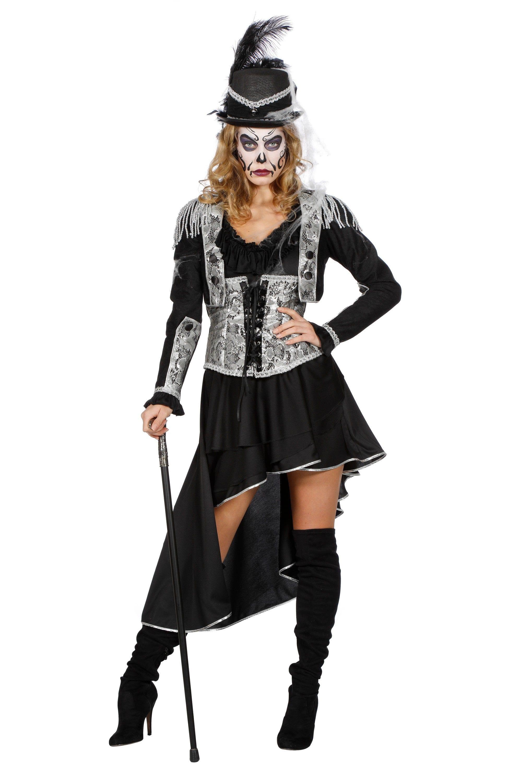 Voodoo Dame Zwart Zilver Vrouw Kostuum
