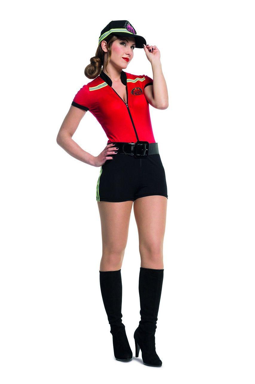 Hete Vuren Catsuit Brandweer Vrouw Kostuum