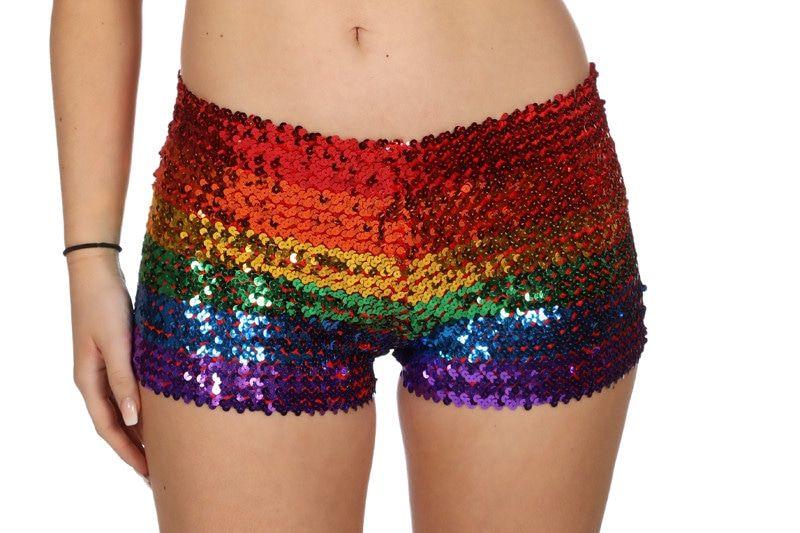 Hotpants Pailletten Regenboog Discorama Vrouw