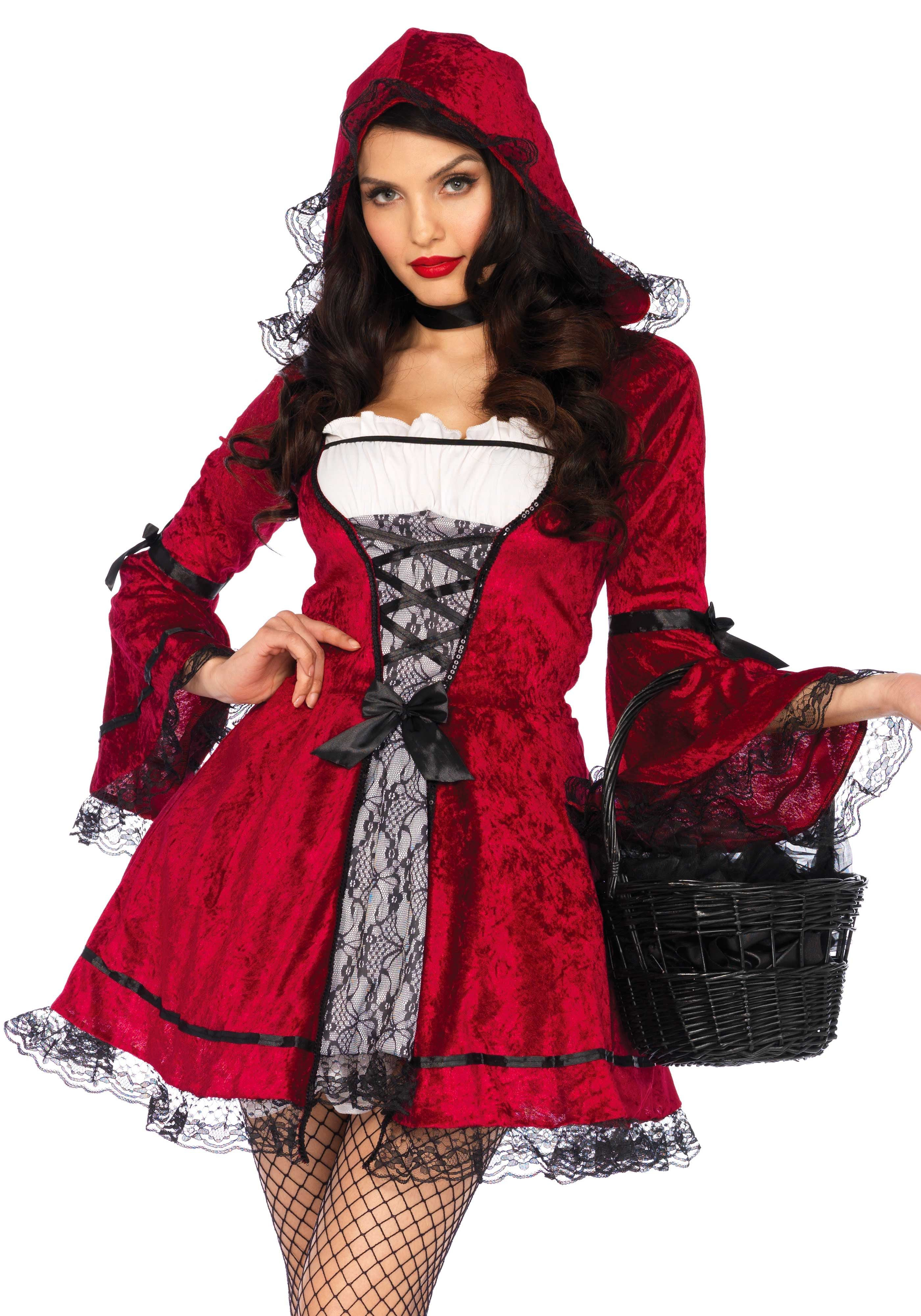 Roodkapje Goes Gothic Vrouw Kostuum