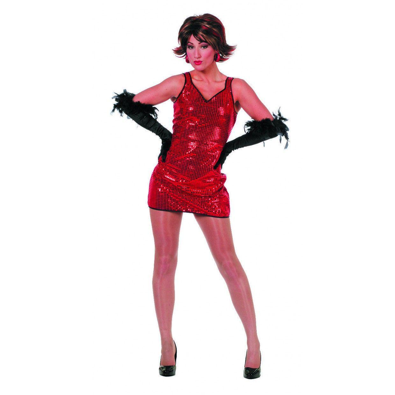 d9f5920889c885 Miss Glitter Jurkje Pailletten Patty Rood Vrouw     Feestkleding 365!