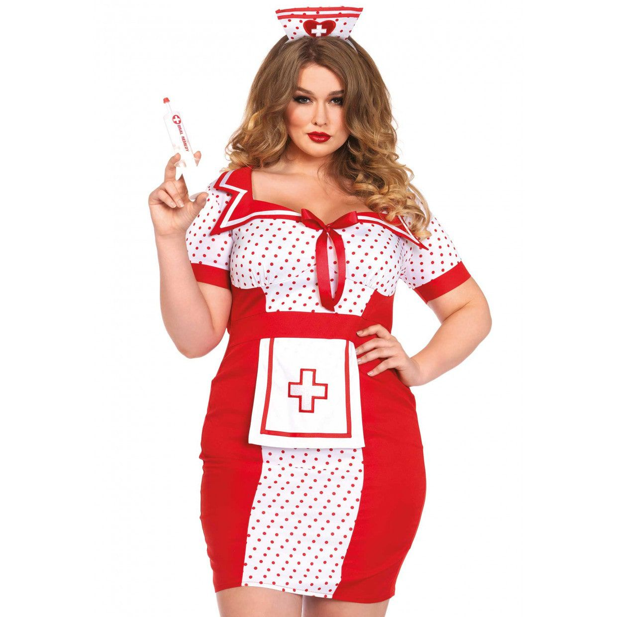 af25158c269168 Wit-Rode Zorgzame Verpleegster Jurk (Plus Size) Vrouw
