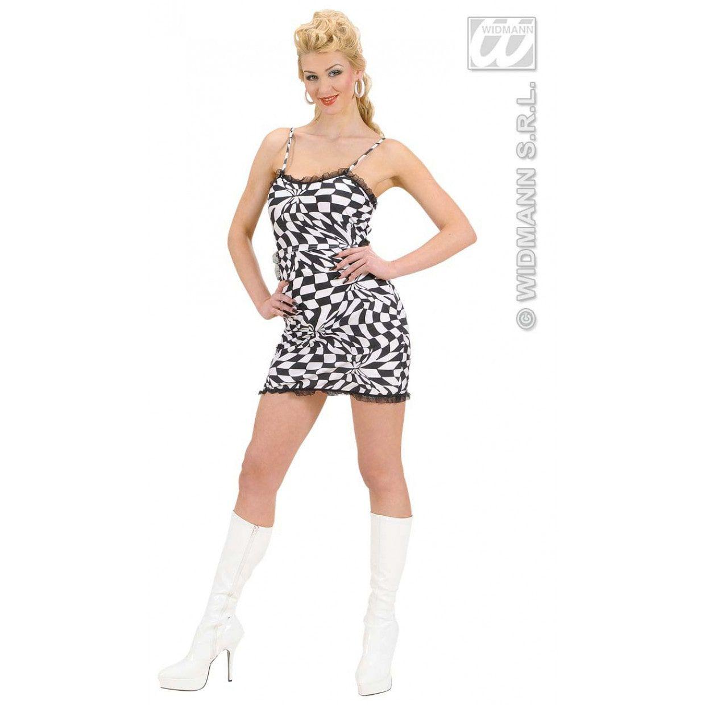 48d8db5813bdb2 Zwart wit geblokte jurk