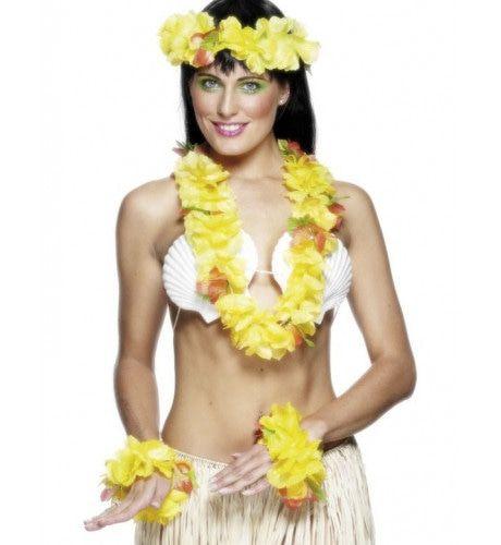 Gele Hawaiiaanse Bloemen Set
