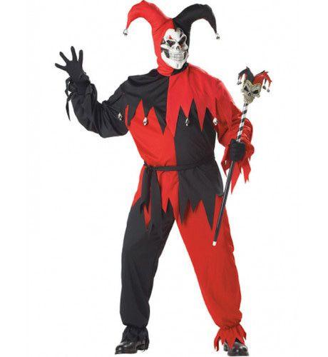 Kwaadaardige Nar Rood-Zwart Maatje Meer Man Kostuum