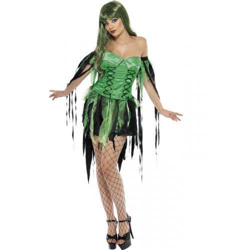 Stoute Groene Toverheks Vrouw Kostuum