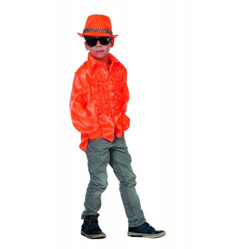 Oranje Ruchesblouse Satijn Disco Fly-Boy Kind