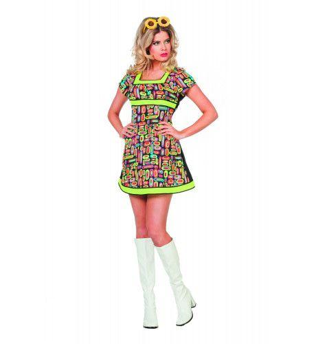 Zonnige Neon Popart Vrouw Kostuum