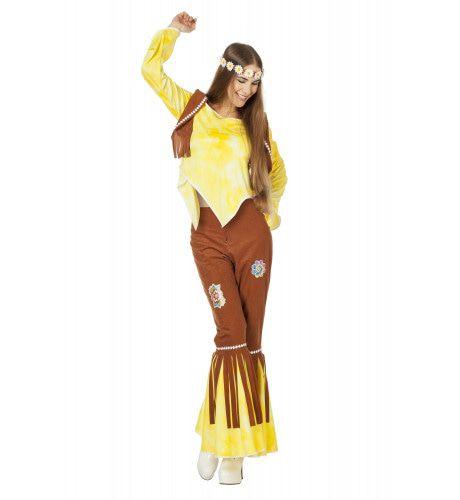 Gele Hippy Flower Power Ms Brown Vrouw Kostuum