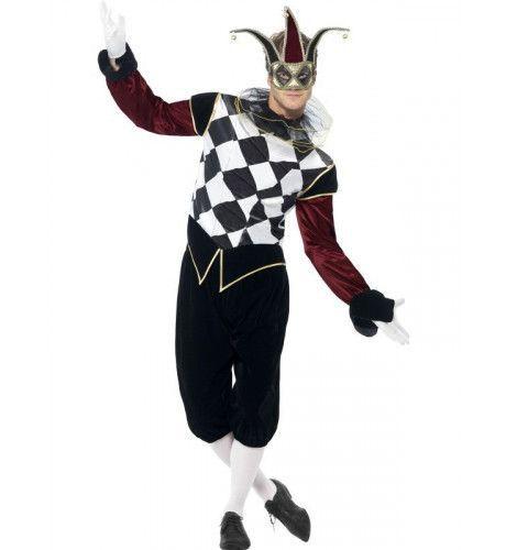 Gothic Venetiaanse Harlekino Man Kostuum