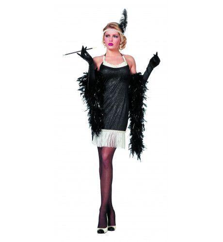 Ms Usa 20s Charleston Zwart / Wit Vrouw Kostuum