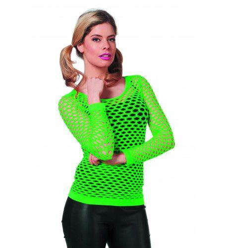 Spannend Netshirt Lange Mouw Groen Vrouw