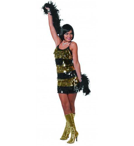 Showgirl Jurk Hangende Pailletten Goud Vrouw