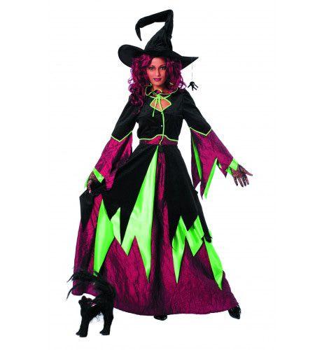 Vlammende Vlammixia Heks Groen / Bordeaux Vrouw Kostuum
