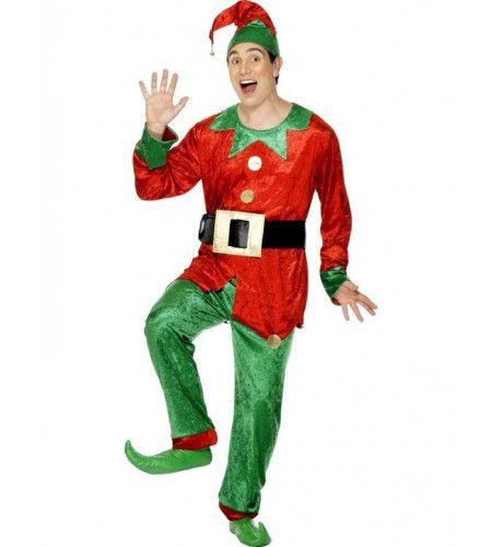 Man Elf Kostuum Rood Man