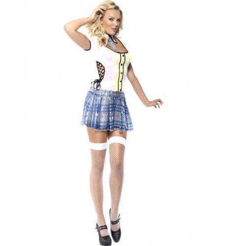Fever Schoolmeisje Bling Vrouw Kostuum
