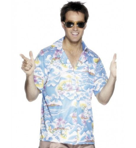 Blauw Hawaii Shirt Man