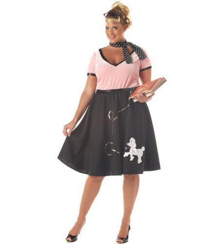 Jaren 50 Lieve Meid Kostuum (Grote Maat) Vrouw