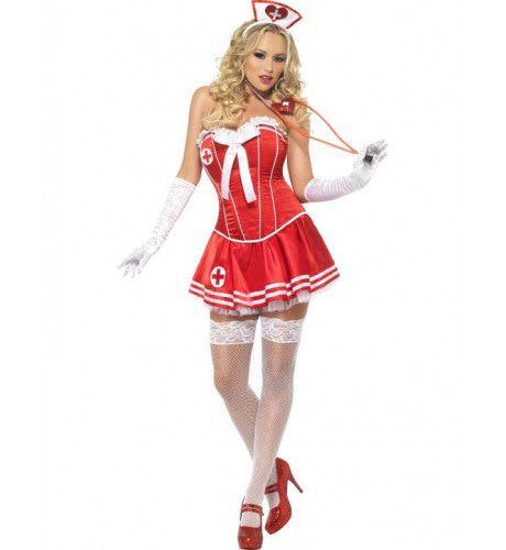 Sexy Verpleegster Kostuum Rood Vrouw