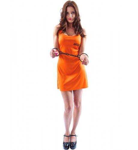 Sexy Oranje Gevangene Jurk Vrouw